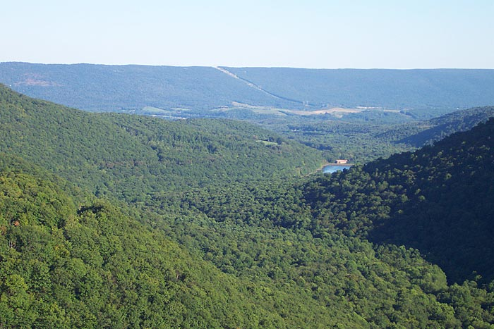 View of Bells Gap from atop the Allegheny Front looking southeast