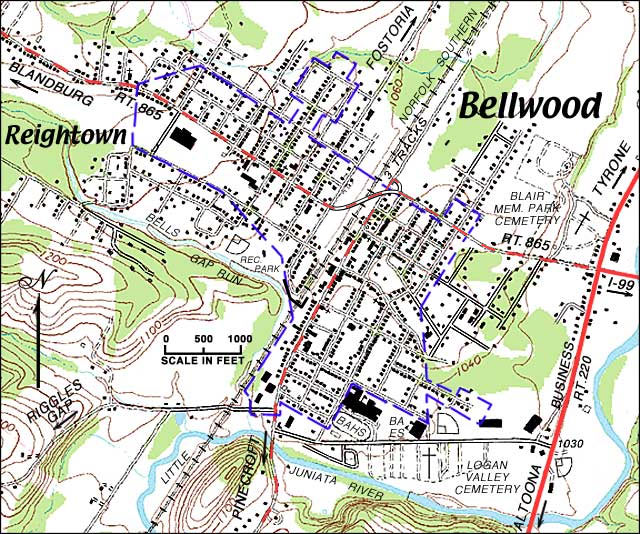 Bellwood Area Topographic Map